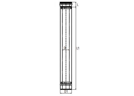 Concentrisch rookkanaal RVS, diameter Ø130-200, 1000mm pijp - 2738