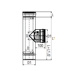 Concentrisch rookkanaal RVS, diameter Ø130-200, T-stuk 90° - 2756