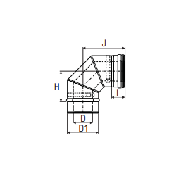 Concentrisch rookkanaal RVS, diameter Ø130-200, 90° bocht - 2764