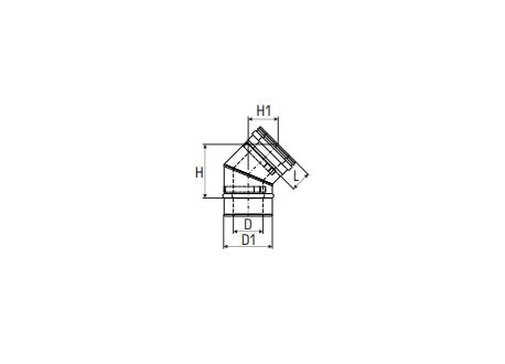 Concentrisch rookkanaal RVS, diameter Ø130-200, 45° bocht - 2766