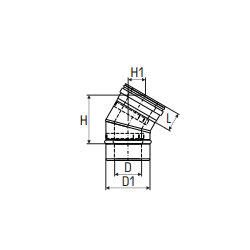 Concentrisch rookkanaal RVS, diameter Ø130-200, 15° bocht - 2773