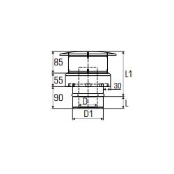 Concentrisch rookkanaal RVS, diameter Ø130-200, eindkap - 2782