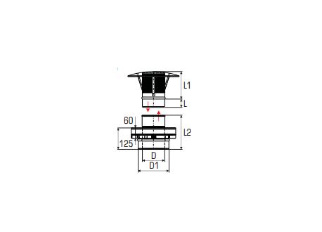 Concentrisch rookkanaal RVS, diameter Ø130-200, eindaansluiting met regenkap - 2784