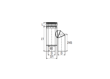 Concentrisch rookkanaal RVS, diameter Ø130-200, adapter