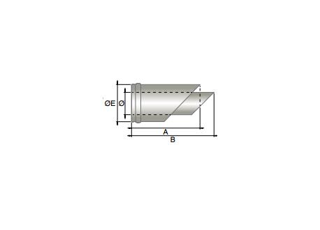 Concentrisch rookkanaal RVS, horizontaal eindstuk, diameter Ø100-150mm