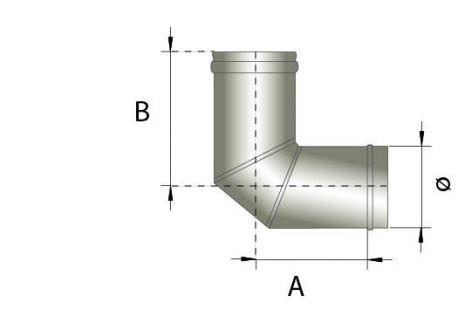 Enkelwandig rookkanaal RVS, bocht 90° graden, diameter Ø180
