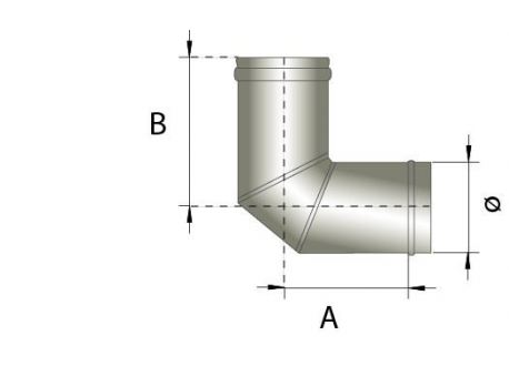 Enkelwandig rookkanaal RVS, bocht 90° graden, diameter Ø200 - 328