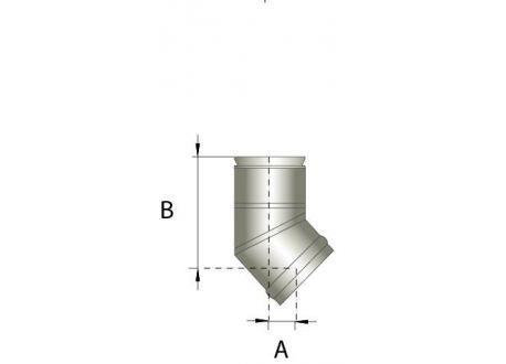 Enkelwandig rookkanaal RVS, bocht 45° graden, diameter Ø180