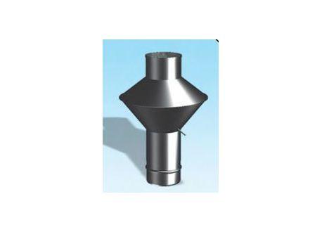 Enkelwandig RVS rookkanaal, deflectorkap Ø100mm - 3346
