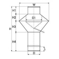 Enkelwandig RVS rookkanaal, deflectorkap Ø125mm - 3349