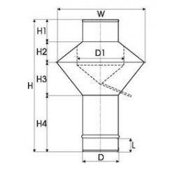 Enkelwandig RVS rookkanaal, deflectorkap Ø250mm - 3355