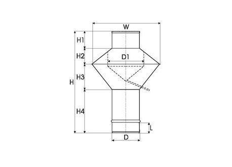 Enkelwandig RVS rookkanaal, deflectorkap Ø350mm