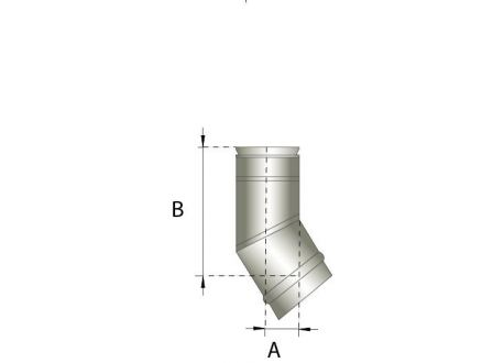 Enkelwandig rookkanaal RVS, bocht 30° graden, diameter Ø250 - 345