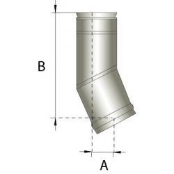 Enkelwandig rookkanaal RVS, bocht 15° graden, diameter Ø180