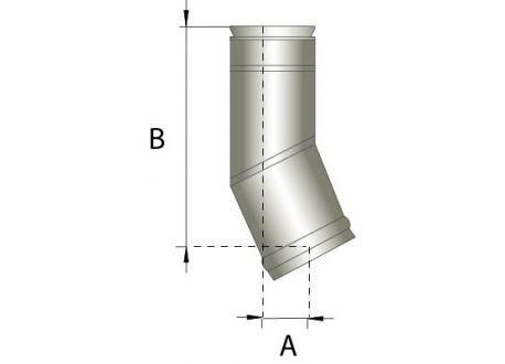Enkelwandig rookkanaal RVS, bocht 15° graden, diameter Ø250 - 353