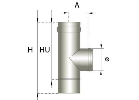 Enkelwandig rookkanaal RVS, T-stuk 90° graden, diameter Ø200