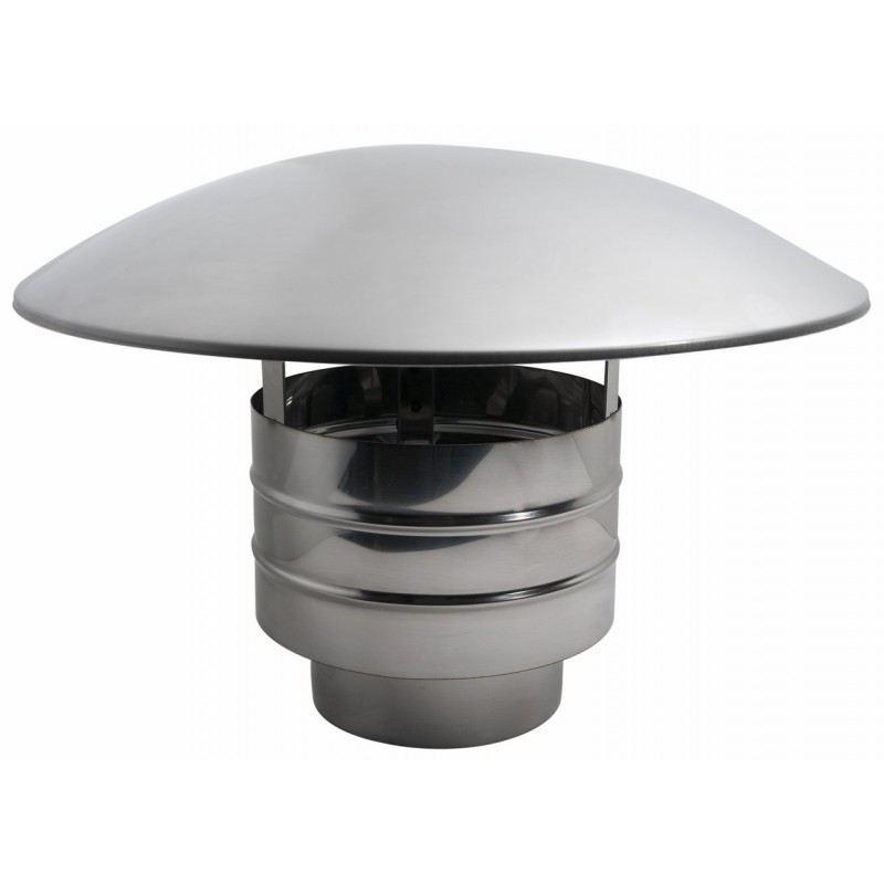Enkelwandig rookkanaal RVS, trekkende regenkap, diameter Ø300 - 3604
