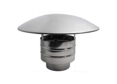 Enkelwandig rookkanaal RVS, trekkende regenkap, diameter Ø350 - 3605