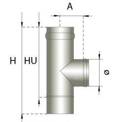 Enkelwandig rookkanaal RVS, T-stuk 90° graden, diameter Ø250