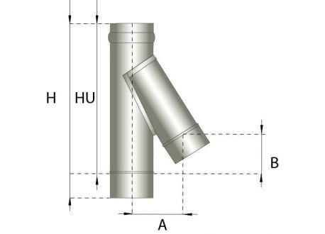 Enkelwandig rookkanaal RVS, T-stuk 135° graden, diameter Ø150