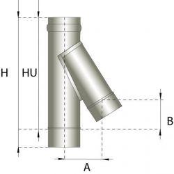 Enkelwandig rookkanaal RVS, T-stuk 135° graden, diameter Ø180