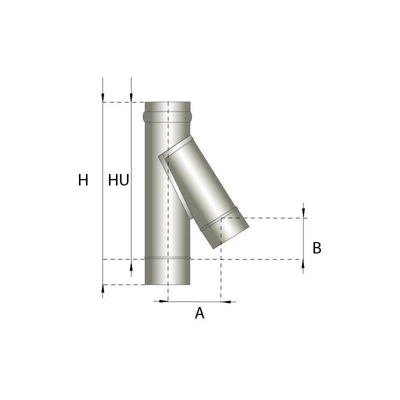 Enkelwandig rookkanaal RVS, T-stuk 135° graden, diameter Ø250