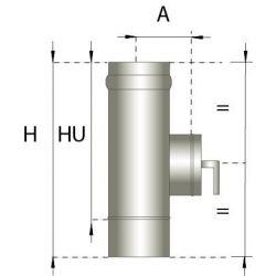 Enkelwandig rookkanaal RVS, Inspectiesectie 330mm, diameter Ø150
