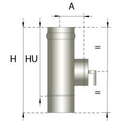 Enkelwandig rookkanaal RVS, Inspectiesectie 200mm, diameter Ø180