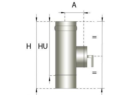 Enkelwandig rookkanaal RVS, Inspectiesectie 330mm, diameter Ø200