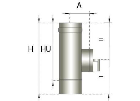 Enkelwandig rookkanaal RVS, Inspectiesectie 200mm, diameter Ø250