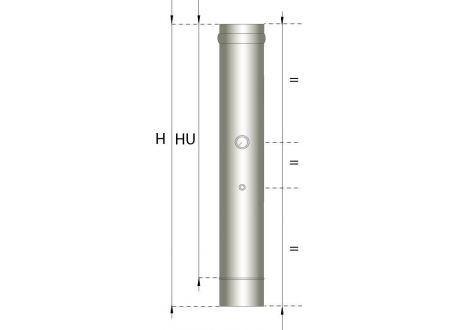 Enkelwandig rookkanaal RVS, temperatuursensor pijp 500mm, diameter Ø150