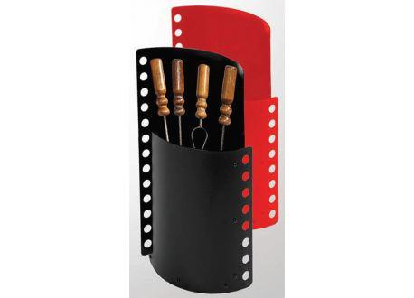 Haardstel 4-delig hoog (zwart & rood) - 3809