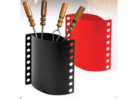Haardstel 4-delig laag (zwart & rood)  - 3810