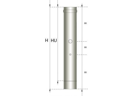 Enkelwandig rookkanaal RVS, temperatuursensor pijp 500mm, diameter Ø250 - 385