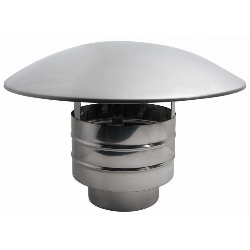 Enkelwandig rookkanaal RVS, trekkende regenkap, diameter Ø180