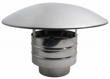 Enkelwandig rookkanaal RVS, trekkende regenkap, diameter Ø250
