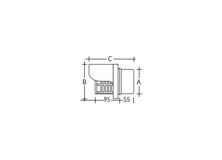 Pelletkachel rookkanaal zwart, horizontale wind- en regenkap, diameter Ø80 - 3940