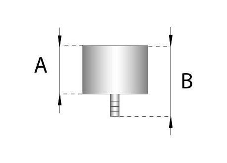 Enkelwandig rookkanaal RVS, Deksel/condensafvoer, diameter Ø180