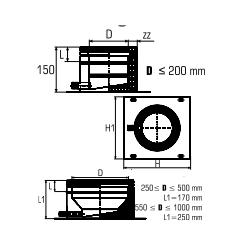 Dubbelwandig rookkanaal RVS, plaat met condensafvoer, diameter Ø 100-150 - 4791