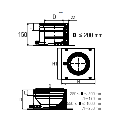 Rookkanaal RVS, plaat met condensafvoer, diameter Ø 250-300