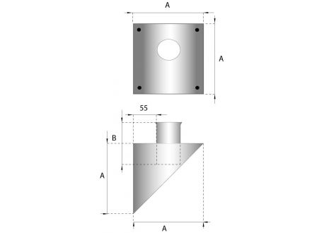 Rookkanaal RVS, Stoelconstructie, diameter Ø200