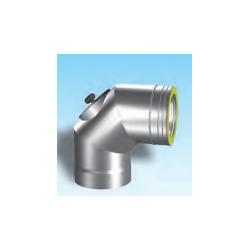 Dubbelwandig rookkanaal RVS, bocht 90° met inspectiedeksel, diameter Ø350/400