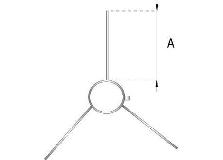 Enkelwandig rookkanaal RVS, Multifunctionele beugel, diameter Ø180