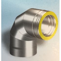 Dubbelwandig rookkanaal RVS, bocht 90° graden 4-segment, diameter Ø400-450