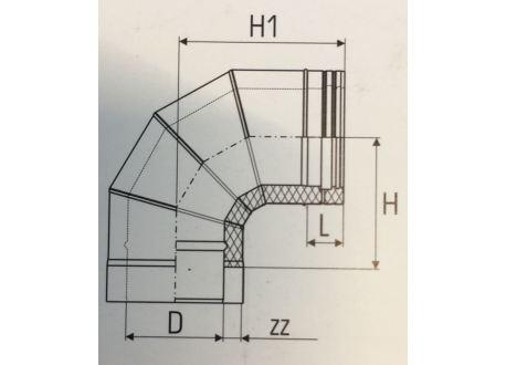Dubbelwandig rookkanaal RVS, bocht 90° graden 4-segment, diameter Ø400-450 - 5038
