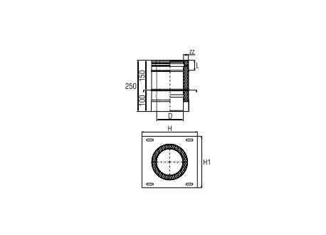 Dubbelwandig rookkanaal RVS, Topaansluiting, diameter Ø350-400mm - 5057