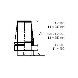 Dubbelwandig rookkanaal RVS, Conische open kap, diameter Ø150-200 - 5112