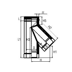 Dubbelwandig rookkanaal RVS, T-stuk 135° graden, diameter Ø100-150 - 5131