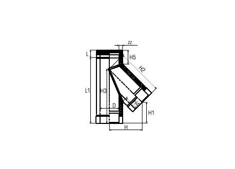 Dubbelwandig rookkanaal RVS, T-stuk 135° graden, diameter Ø180-230 - 5138