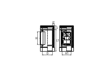 Dubbelwandig rookkanaal RVS, Inspectiesectie 500mm, diameter Ø80-130 - 5215